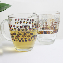 Promotional drinking glass tea cup with handle/glass coffee cup with logo