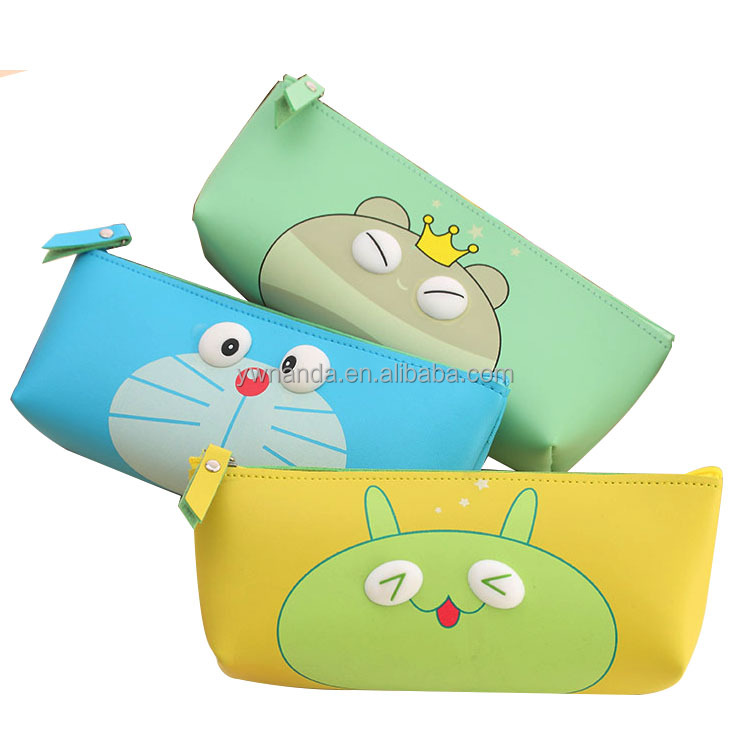 Hot sell cute animal eyes PU waterproof student hand stationery pencil bag