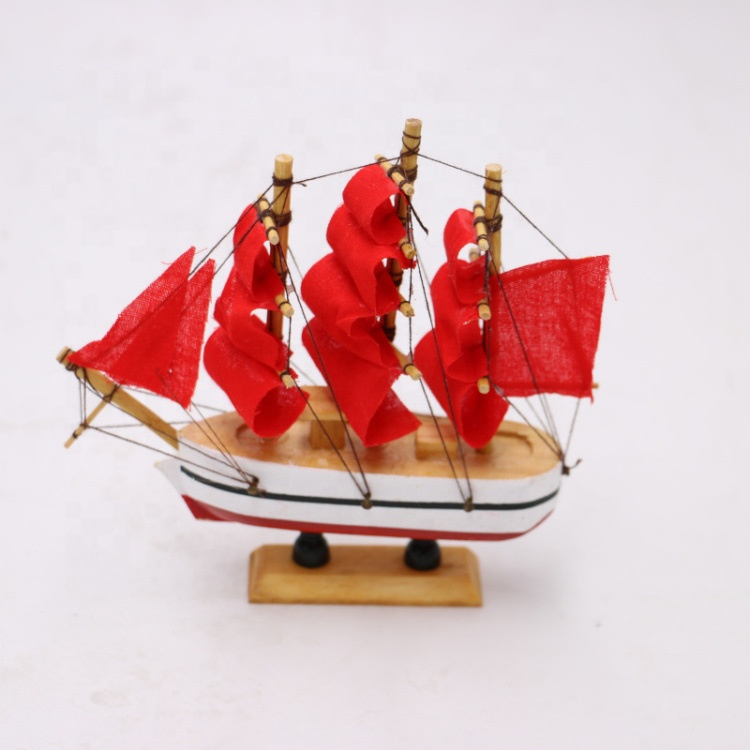 Hot Selling Wooden Model Gift Toy Sailing Ship Model High Quality Red Boat <strong>Craft</strong> For Home Decoration