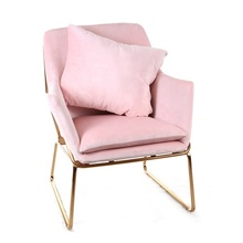 Modern Pink Velvet Leisure Chair Couch Sofa Armchair with Golden Metal Frame Fabric Accent Chair for Living Room <strong>Furniture</strong>