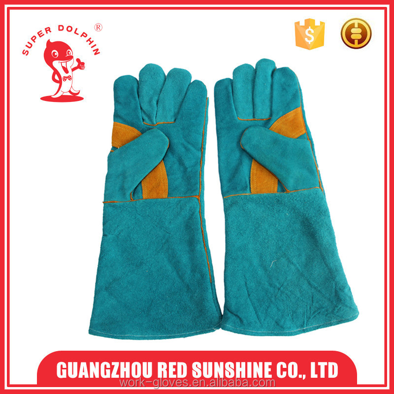 "16"" long blue cow hide split welding gloves with fulling line"