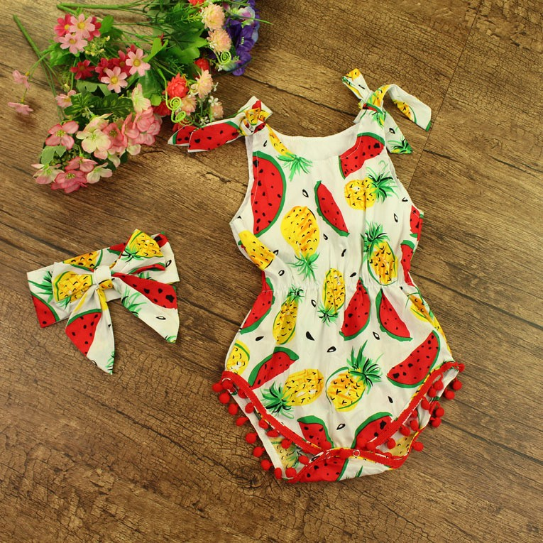 Kids cotton frocks design tropical fruit pom pom children rompers new baby name girl