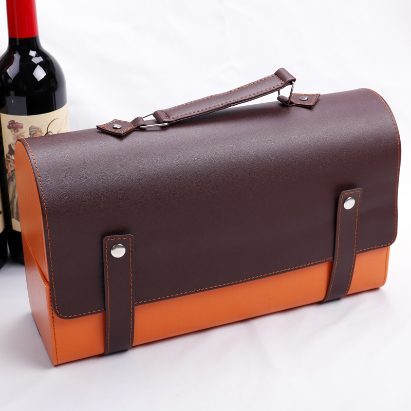 Luxury leather wine packaging customized logo boxes hot sell packaging for bottles of wine suitcase