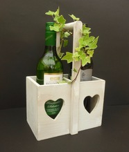 Laser cut Heart design Wooden Bottle Holder Wine Carrier Storage beer crate