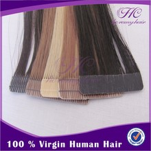 Wholesale Abibaba 2015 Hot Sale Real Nice Smooth Virgin Double Drawn Glue Tape Hair Extensions