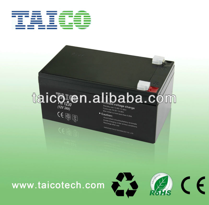 12v 3ah sealed lead acid agm battery with CE and Rohs