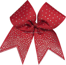 Wholesale Grosgrain hair bows with rhinestone for girl boutique