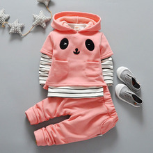 Hot sale 2017 early Spring baby 3 pcs suit thickness model cute 3 colors 80-110cm liittle boy and girl sportswear