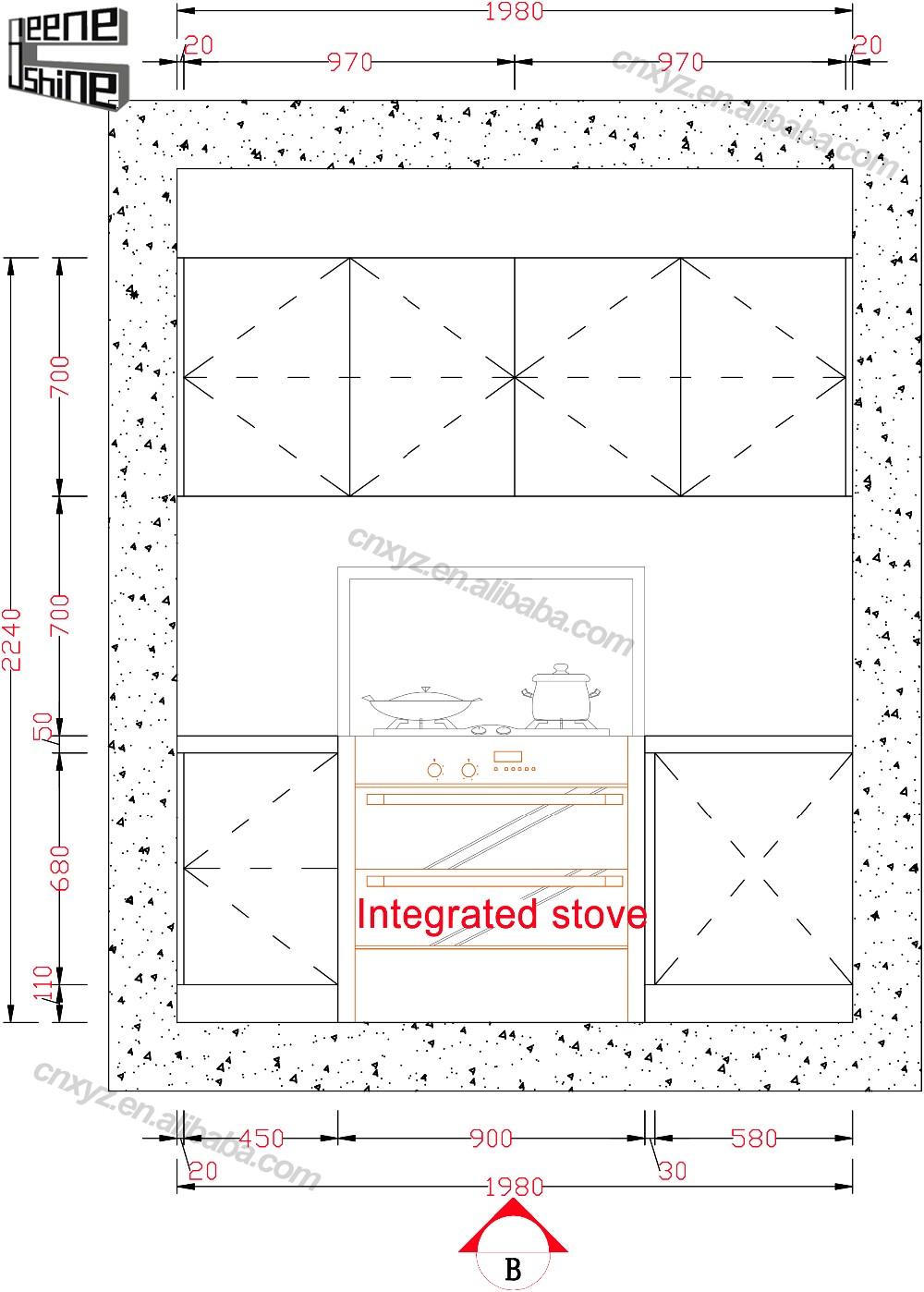 브라운 컬러 현대 디자인 모듈 단단한 나무 부엌 캐비닛 ...