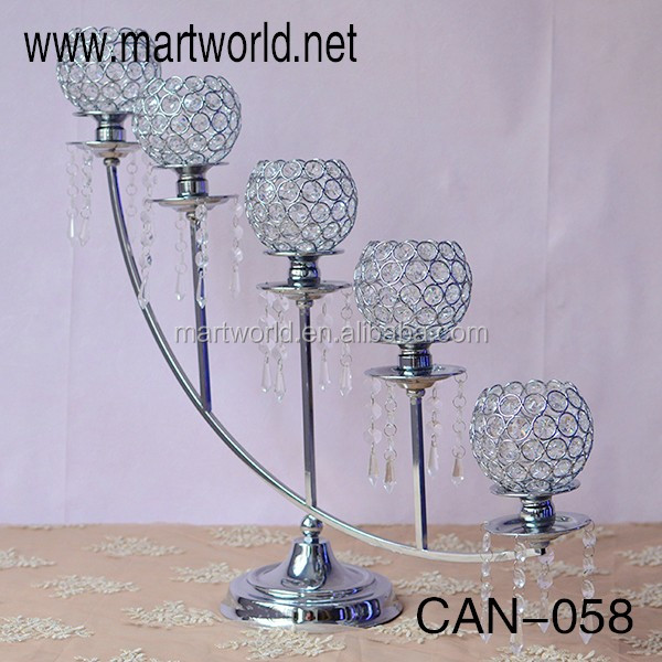 2017 5 arm wedding silver candelabra centerpieces wedding decoration crystal candelabra centerpiece with flower bowl(CAN-057)