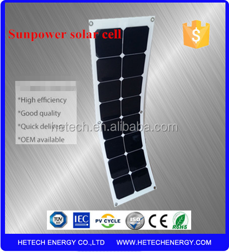 Thin film monocrystalline pv 50 watt flexible solar panel