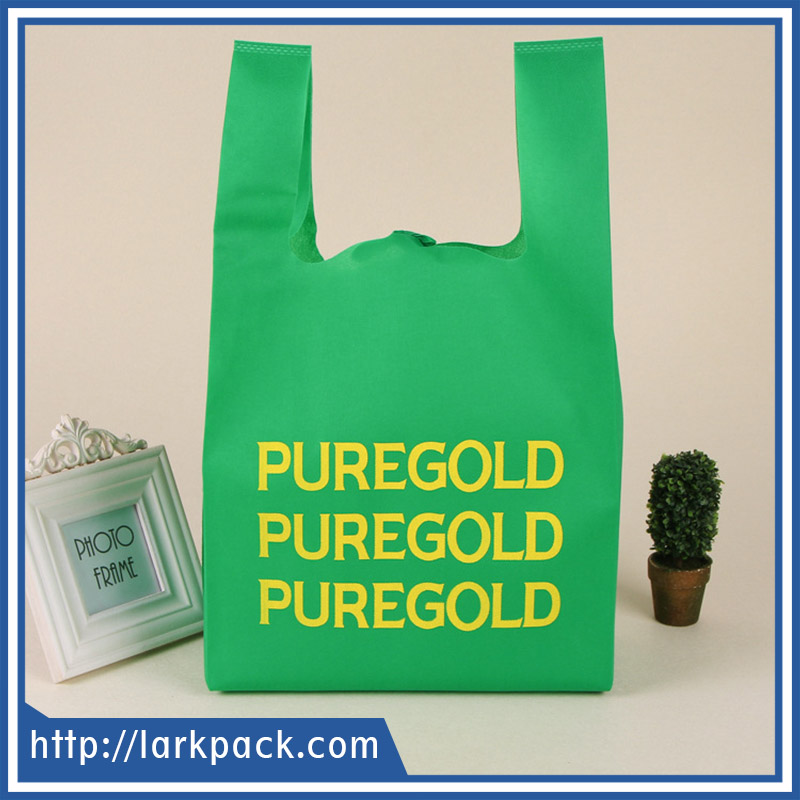 Custom printing cheap price eco-friendly T-shirt bag non woven for shopping