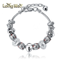 Fashion Jewelry Crystal Beads With English Letter Charm Bracelet