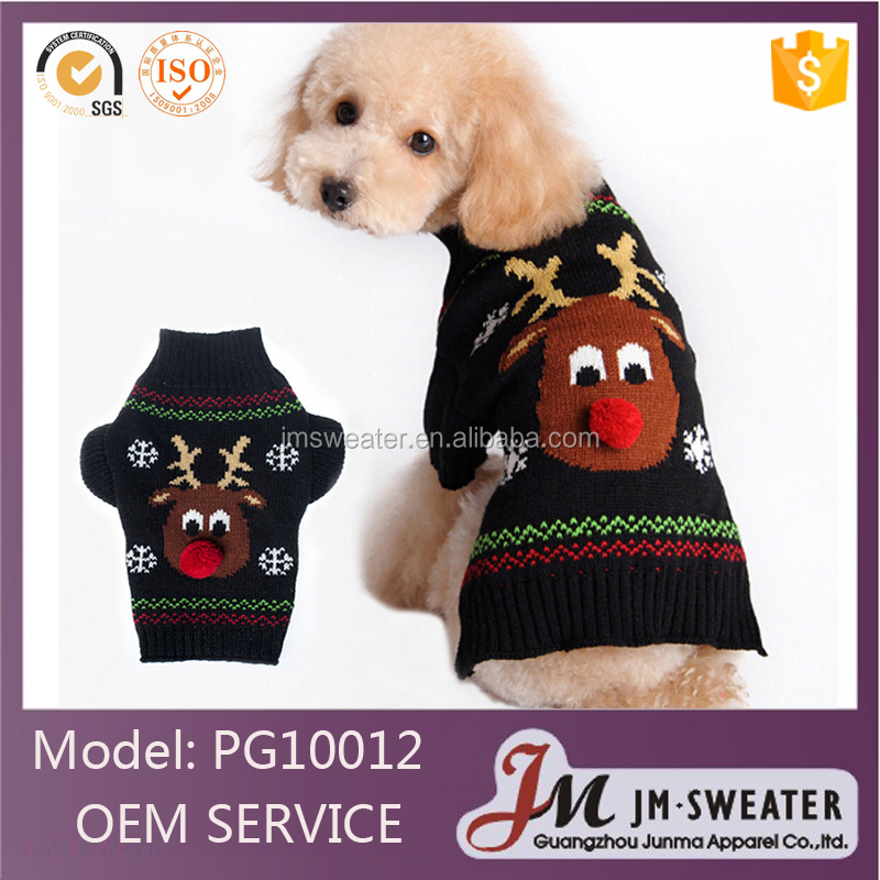 Aliexpress hot selling pet clothes wholesale red nose deer fashion Christma pet dog sweater