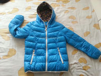 women beautiful blue fake down jacket