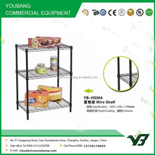 2015 hot sell NSF 60KGS black color plastic powder light duty 3 layer warehouse wire rack shelving (YB-HS004)