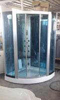 Water Jets 8mm Tempered Blue Glass Shower Room
