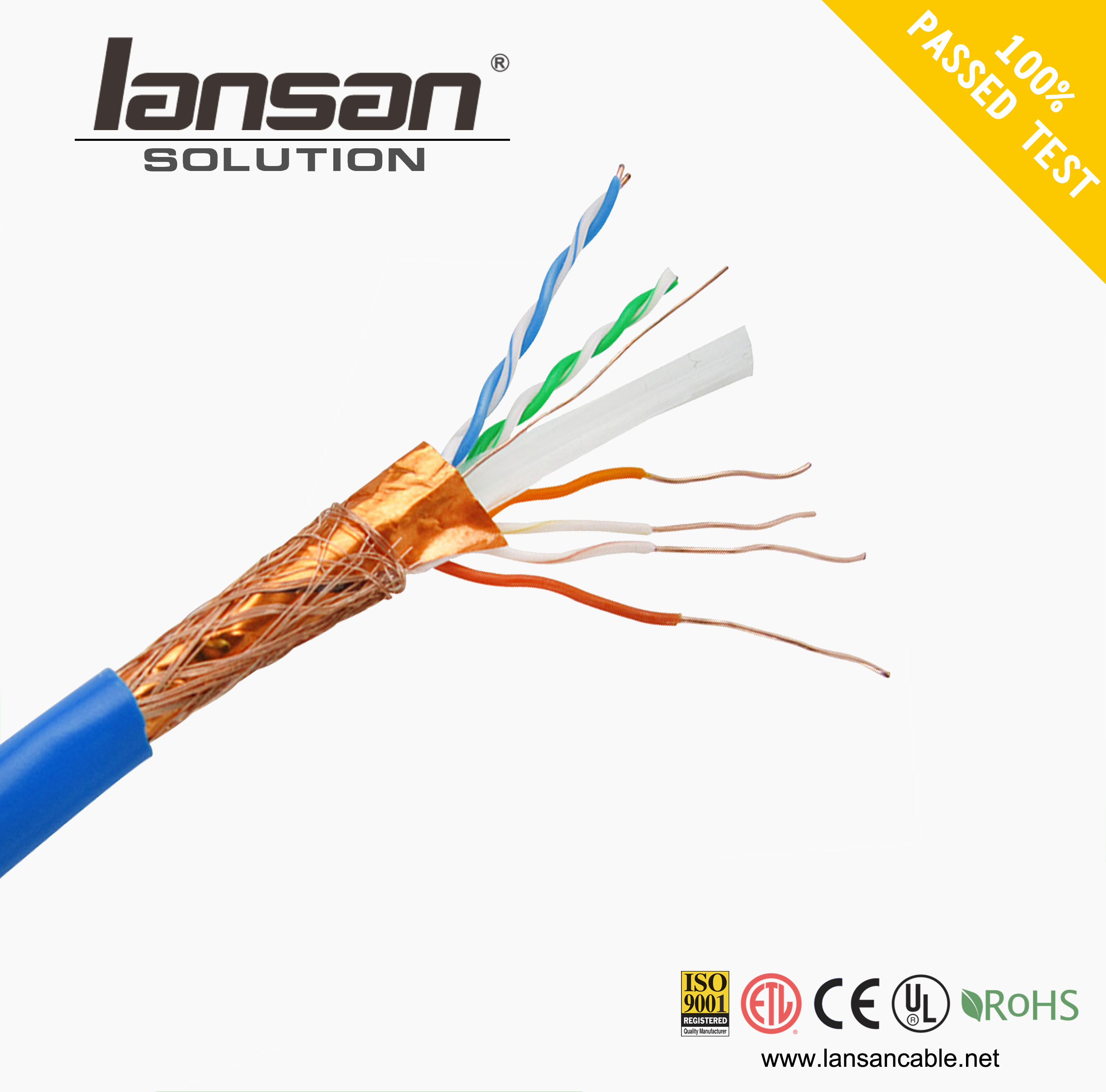 Low Price Lan cable CAT6 SFTP/FTP Cable 4 pairs 305m/roll of ISO9001 Standard