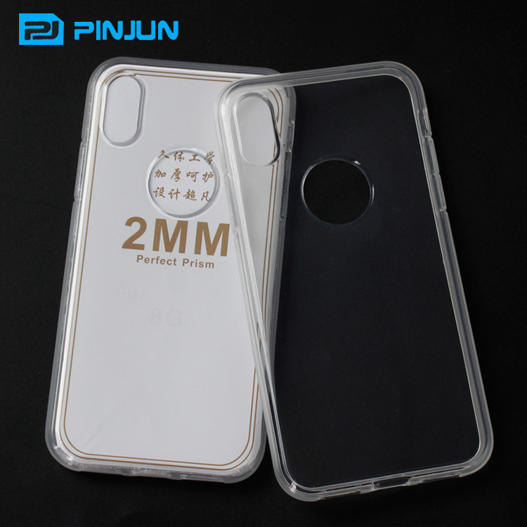 2mm clear back panel tpu bumper for iphone x case crystal flexible soft gel cover