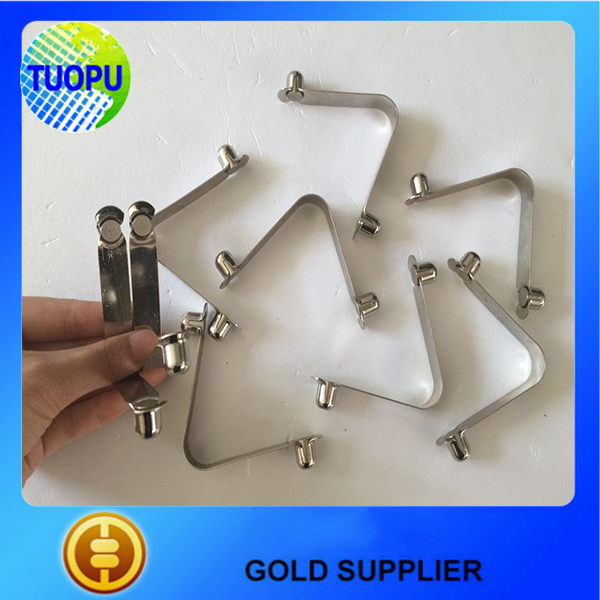 Stainless steel V shaped spring double solid button tube clip made in china