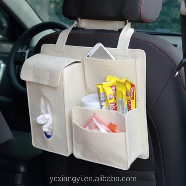 Multi-use White Felt Cup Holder Car Seat Organizer , Eco-friendly Car Seat Storage Bag Cup Holder