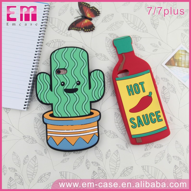 For iPhone7 7plus Charming 3D Hot Sauce Bottle Cactus Case Soft Silicone Cell Phone Case
