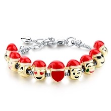 Wholesale Alloy Fun Face Emoji Charm Bead Fit Snake Bracelet For Gift