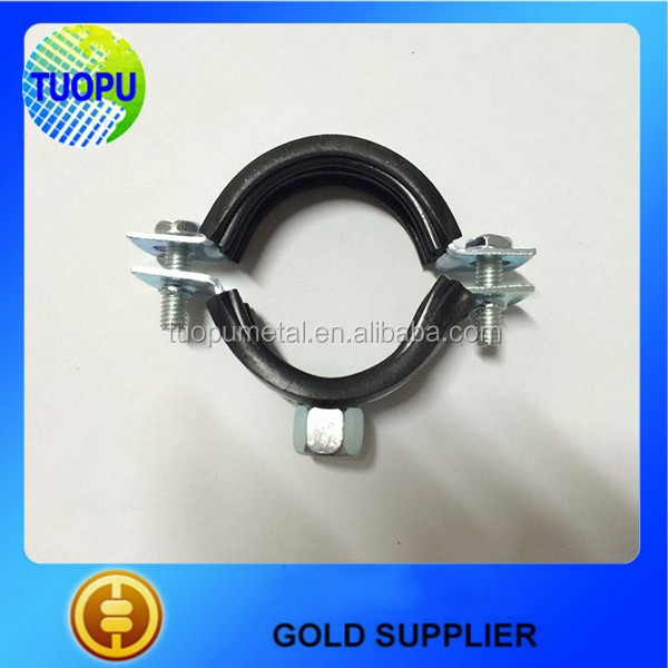 Tuopu metal pipe clamp with nut and plastic Pipe clamps with epdm rubber lining for sale