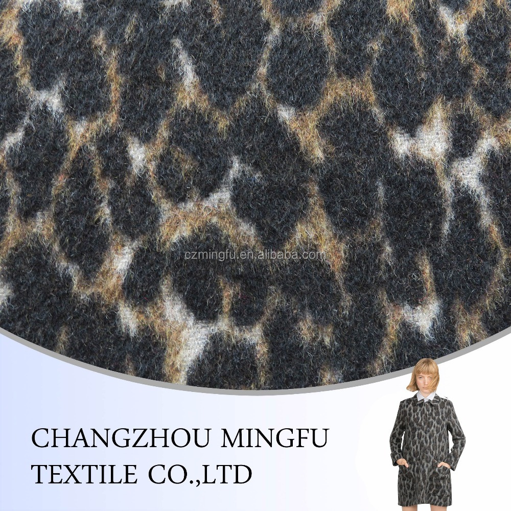 changzhou mingfu textile wool polyester blend fabric, yarn dyed woven woolen fabric, Leopard grain jacquard wool fabric