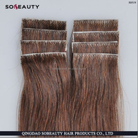 2014 new product 6A quality top selling straight wave PU weft tape hair 100% brazilian remy human hair