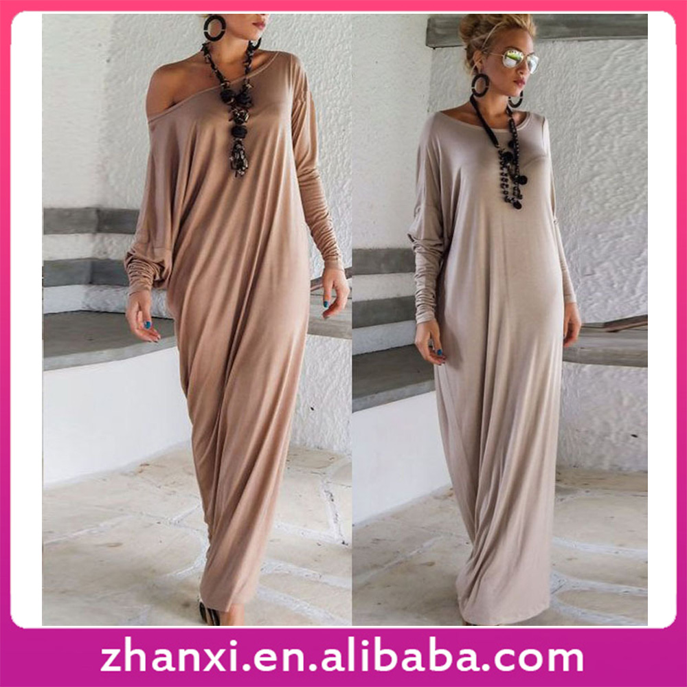Wholesale long elegant loose long-sleeved ladies western dress designs