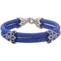 Blue Sapphire Double Wrap Stingray Leather Bracelet