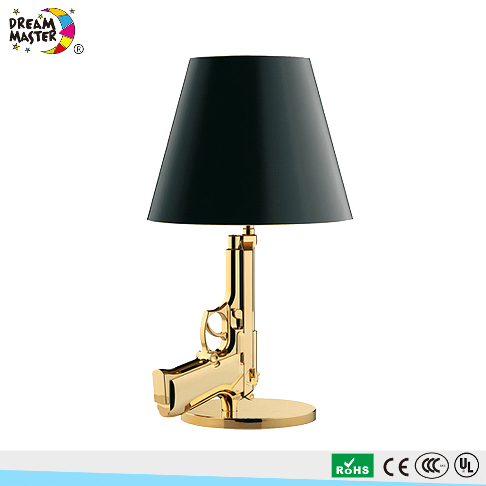 Retro Replica Flos Gun Shape Lampshade Bedside Ceramic Table Lamp For Office Home Decorative