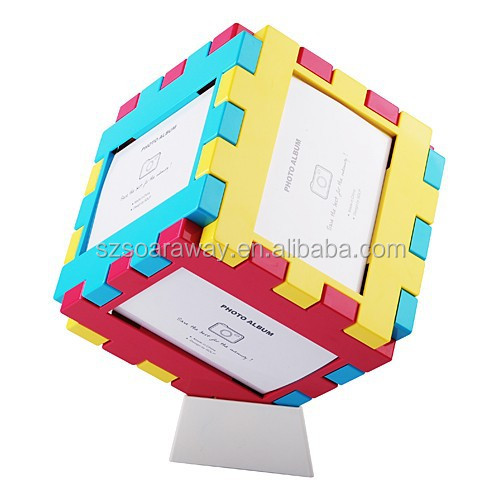 puzzle photo frame family / wedding / sexy photo frame green abs plastic photo frame, cheap 3D plastic photo frame for family