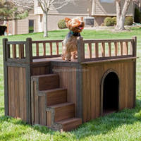 outdoor wooden dog house with run