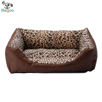 Newfashioned Leopard Soft Plush PP Cotton Padded Square Pet Dog Beds