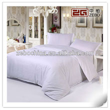 100% Cotton 400TC Pure White Stripe Fabric Luxury Royal Hotel Bedding Collection
