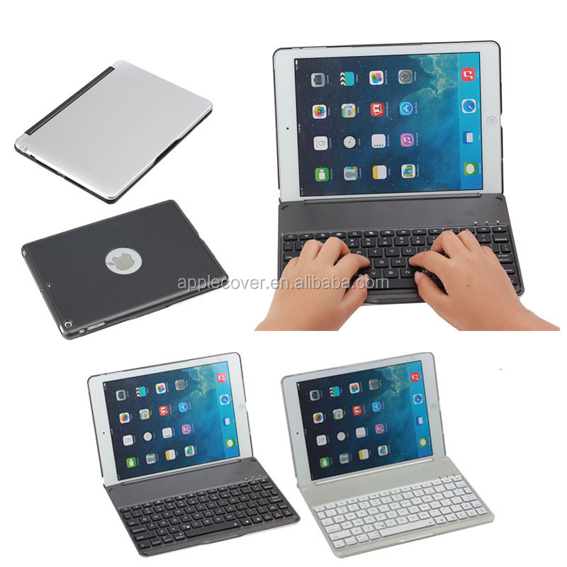 Bluetooth keyboard hard cover for iPad Air with logo hole
