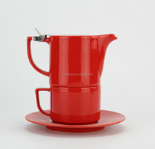 Fashion stackable porcelain red coffee cup & pot / tea set for one person