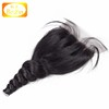 large stock wholesales natural color loose wave three part silk base closure with baby hair accept paypal