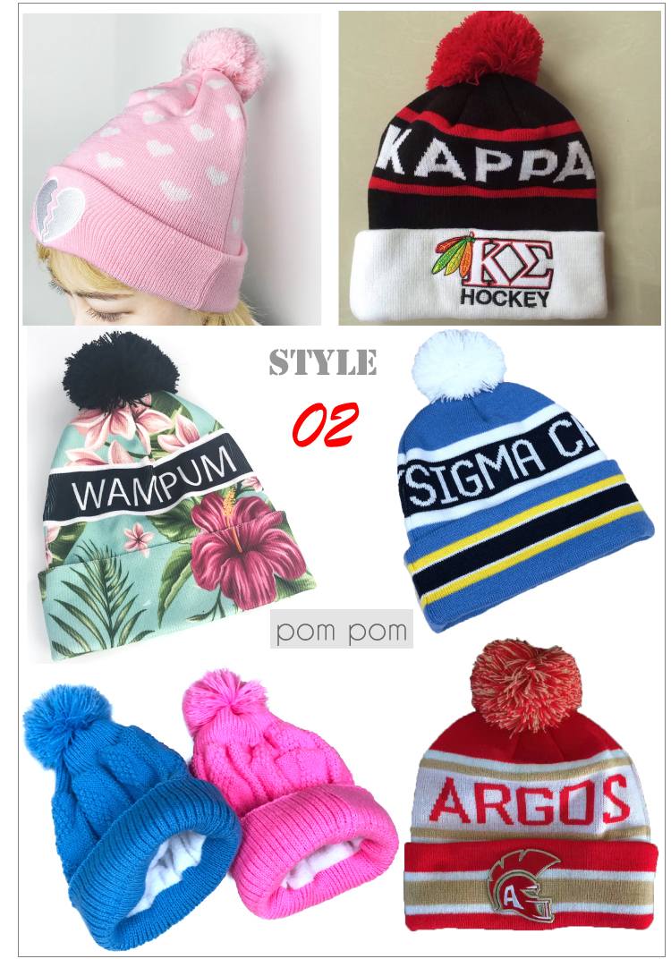 custom embroidered logo 100% wool winter beanie knitted hats with pom pom for women