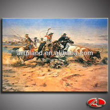 Western cowboy hunting bull oil painting