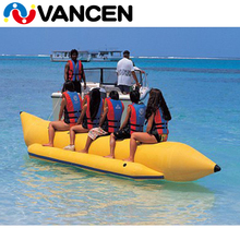 Factory customizable 0.9mm PVC tarpaulin small Yellow One Tube 5 seats inflatable flying fish banana boat for sale