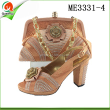 ME3331 Queency Peach Color African Shoes and Bags to Match For Evening Ladies and Women