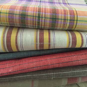100% yarn dyed linen fabric / wholesale pure yarn dyed linen fabric for shirt / yarn dyed stripe linen fabric
