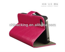 2013 hot selling cheap mobile phone wallet case with stand for iphone 4