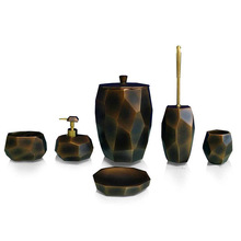 Black classic home design marble bathroom set hotel polyresin bath accessories