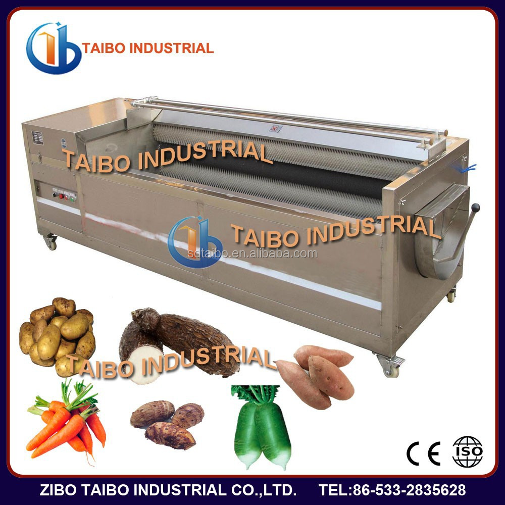 Industry peeling and washing brush machine for fruit cleaning and peeling