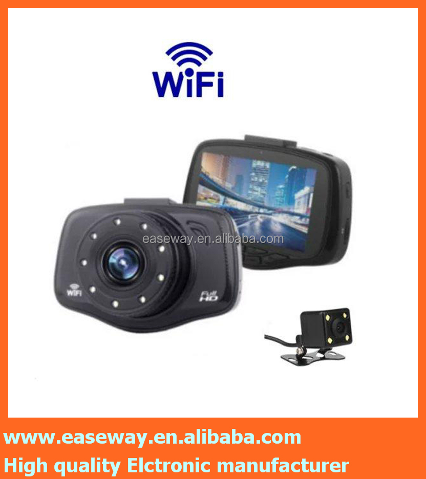 <strong>K</strong>-3UV car rear view bluetooth camera , dual lens dash cam with GPS vehicle blackbox night vision car camera