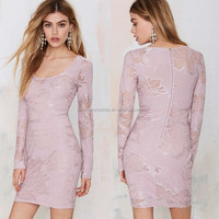 Elegent women floral lace zip/hook closures at back scoop neckline and long sleeves dress for wholesale